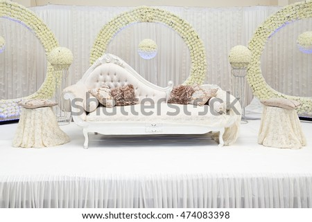 White Themed Wedding Stage Asian Stock Photo Edit Now 474083398