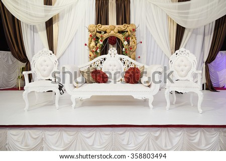 White Themed Wedding Stage Flowers Stock Photo Edit Now 358803494