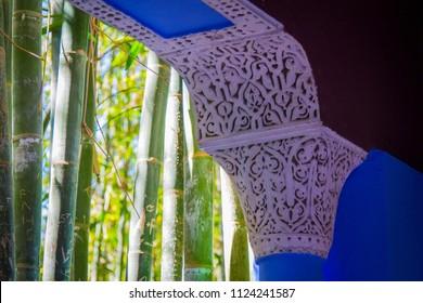 white thread on an arch in a botanical garden in the open air. Marrakech, Morocco, Africa
