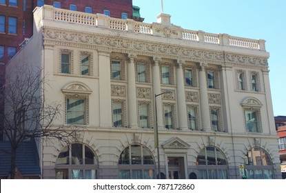White, three-story office building in downtown Baltimore, located at the corner of Liberty and Fayette.  The front of building is designed in Italianate style, featuring four columns.