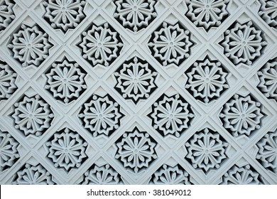 White tile decorations on the outer wall of the New Royal Palace, Istana Negara (national palace) in Kuala Lumpur, Malaysia