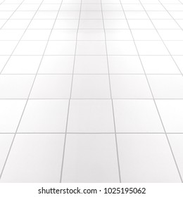 White tile floor texture background used in interior design.