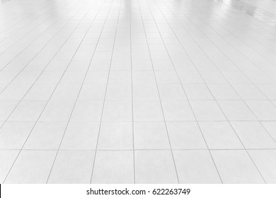 White tile floor texture can be used as background or for interior design and exterior.