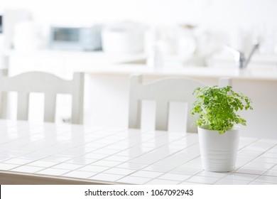 White tile kitchen table