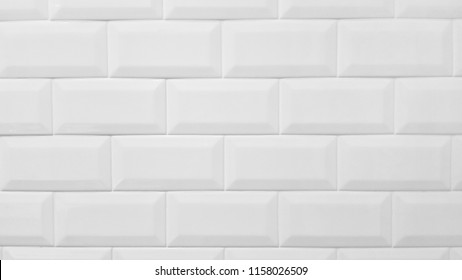 White tile pattern in bathroom. Interior white tile with white grout. for background