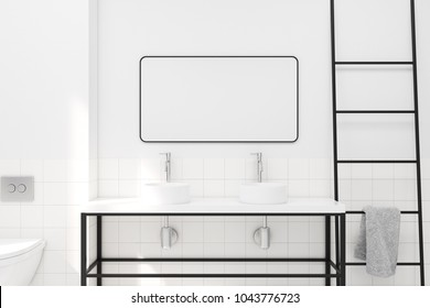 White and tiled bathroom interior idea. A double sink with a rectangular mirror. A ladder. A close up 3d rendering mock up