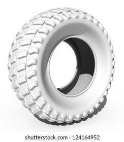 white tire, isolated on white background