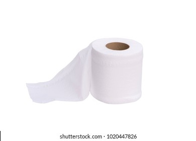 White tissue paper roll isolated on white background.