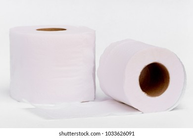 White tissue paper roll isolated on white background