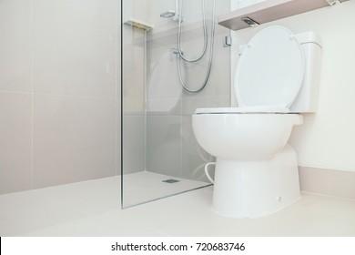 White Toilet and bathroom interior