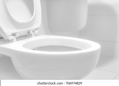 White toilet bowl.