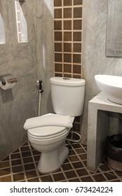 white toilet bowl decoration in bathroom interior