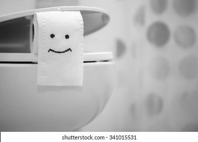 White toilet bowl and Toilet Paper