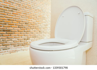 White toilet bowl and seat decoration interior of bathroom