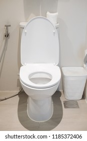 White toilet in modern home, cleaning toilet.