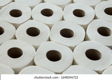 White toilet paper towel. Top view. Background