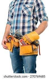 White, toolbelt, handyman.