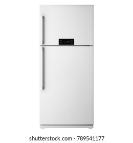 White Top Mount Fridge Freezer Isolated on White Background. Side View of Stainless Steel Smart Double Door Refrigerator. Electric and Kitchen Appliances