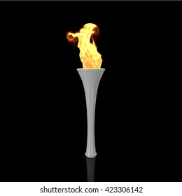 White torch on black background. Sport flame. Torch fire. Torch flame. Olympic torch. Paralympic torch. 3D Render.