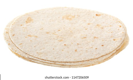 White tortillas isolated on white background.