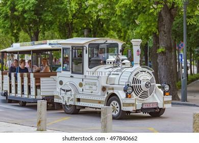 White tourist train in the town Balatonfured of Hungary,06 may 2016 Balatonfured,Hungary