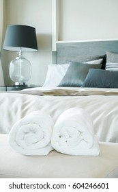 White towels with bedroom interior background