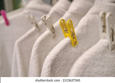 White Towels Hanging Drying after Washing. Clean and Soft.