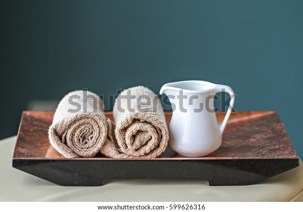 White towels  oil relax spa massage and body treatment. Asian medicine with aroma  therapy for beauty healthy body   body treatment