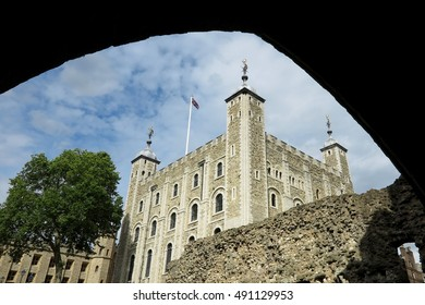 White Tower, Tower of London, viewed through archway, day