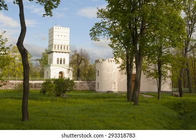 White tower pavilion in Tsarskoe Selo (Pushkin), Russian Tsars residence near St.Petersburg, Russia