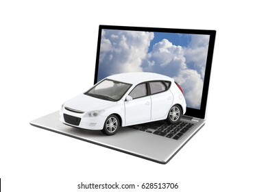 White toy car on laptop isolated on white background