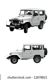 white Toyota Land Cruiser 40 series isolated on white background
