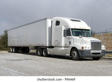 White Tractor Trailer Semi Truck