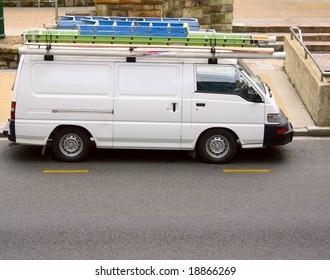 white trade van