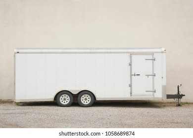 White trailer in profile, copy space