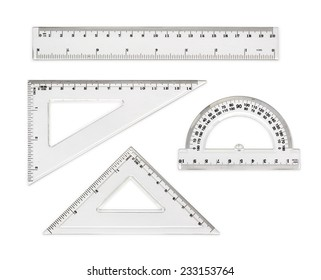 White transparent rulers isolated on white background
