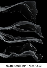 White transparent scarf isolated on black background.