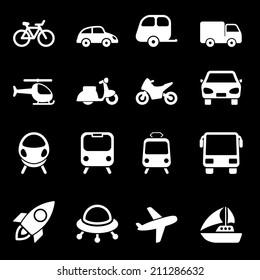 White Transport Icons Set
