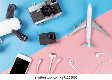 White Travel technology gadgets on pastel background