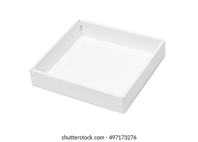 White tray or white paper package box isolated with soft shadow on White background
