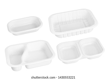 White trays. Plastic trays. Meal trays