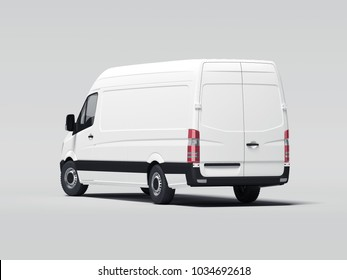 White truck with blank walls ready for advertisment. 3d rendering