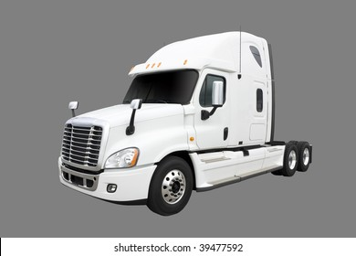 White truck isolated on grey with clipping path