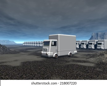 white trucks, humanitarian convoy, numerous vehicles aligned in a sad landscape under gray sky