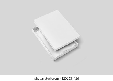 White T-Shirt Box with t-shirt for Mock-up on soft gray background.can be used for design and branding.