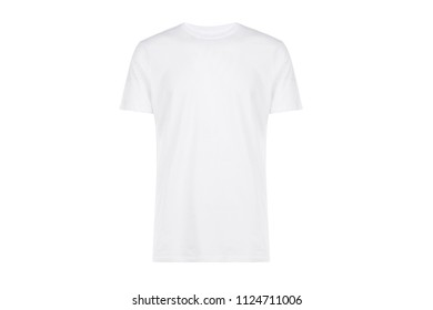 white t-shirt, front view, clothes on isolated white background