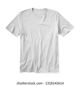 White T-Shirt Isolated on White Background. Front View of Short Sleeves T Shirt. Men's Clothing. Short Sleeve Tshirt Apparel. Sweat Unisex Garment. Jersey Clothing