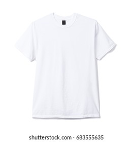 White T-Shirt Isolated on White Background. Front View of White T Shirt with Short Sleeves
