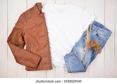 White T-Shirt Lifestyle Mockup Template