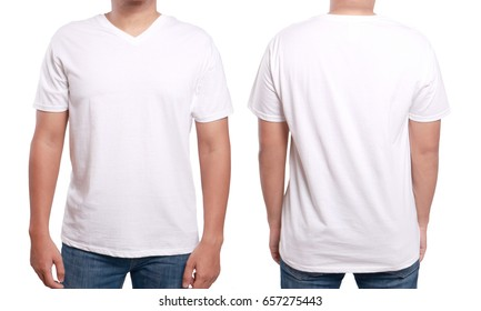 White t-shirt mock up, front and back view, isolated. Male model wear plain white shirt mockup. V-Neck shirt design template. Blank tees for print